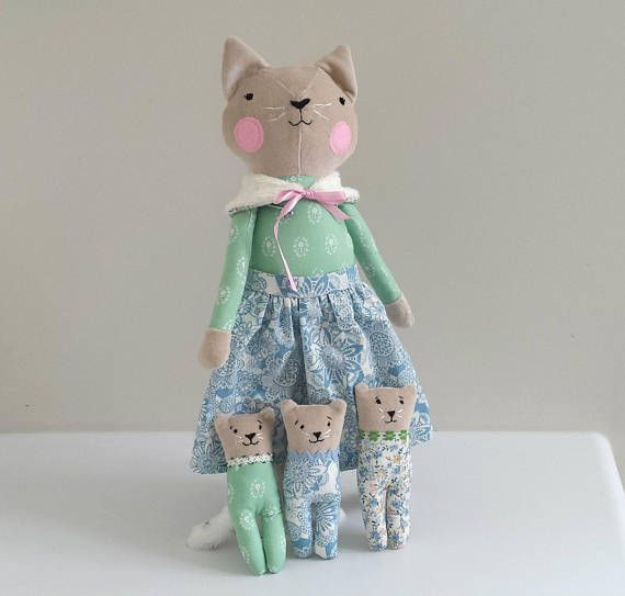 Heirloom Cat Doll with Kittens Rag Doll Cats in Bed Stuffed