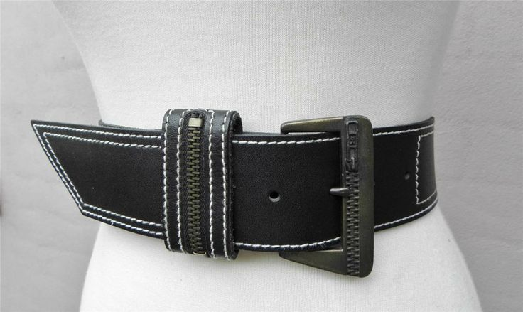 """Black Leather Belt White Stitching """"Zipper"""" keeper & Zip decorated Buckle S/M"""