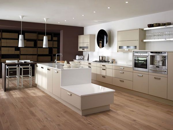 Beige Gloss Kitchen from £11000 – £15000. For contemporary kitchens request a call back here:   http://capitalbedroomsandkitchens.co.uk/ring-back/