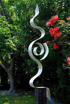 Abstract Silver Metal Garden Sculpture   Looking Forward By Jon Allen    Modern   Landscape