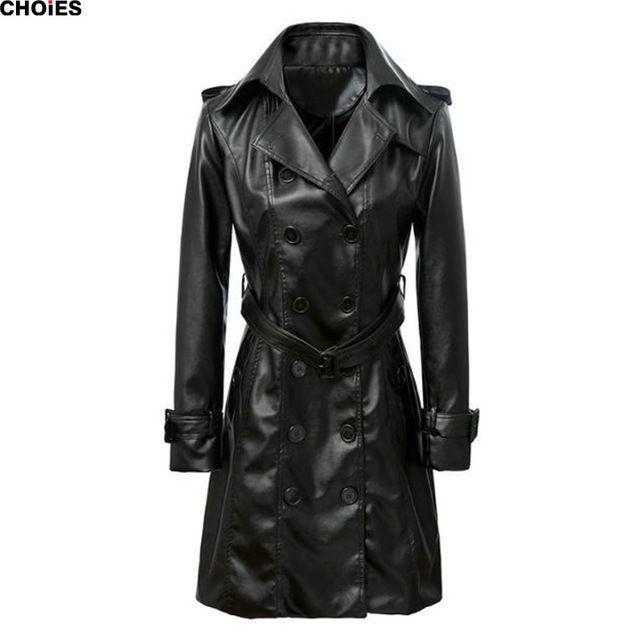 Женщины черный широкий нагрудные двубортный поясом талии ярус искусственная кожа плащ с длинным рукавом мода элегантный верхняя одежда