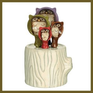 Owl Hollow Ceramic Measuring Spoons/holder A tree stump keeps the owls in one place. The set of spoons include 1 tablespoon, 1 teaspoon, 1/2 teaspoon and 1/4 teaspoon. The stump holder measures 3 1/2 inches wide x 3 inches deep x 2 1/2 inches tall. It is dishwasher friendly. http://theceramicchefknives.com/ceramic-measuring-spoons/