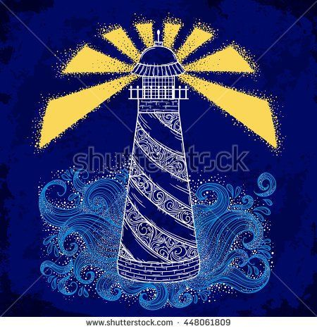 Lighthouse with abstract waves on grunge background. Vintage hand drawn vector illustration