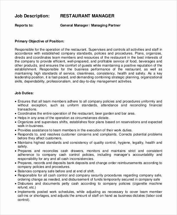 Restaurant General Manager Resumes New Sample General Manager Job