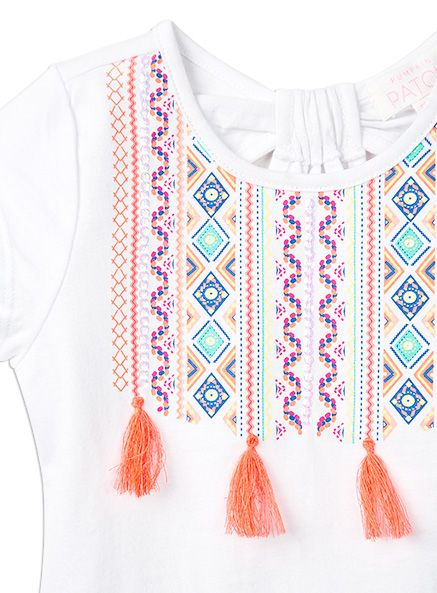 Toddler Girls Tassel Front Top Super White top