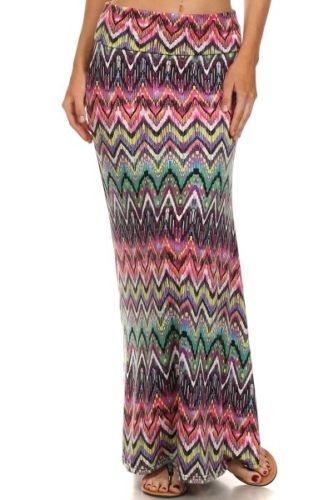 Shosho-Everyday-Bright-Multi-Color-Chevron-Long-Maxi-Skirt-Women-S-M-L-XL