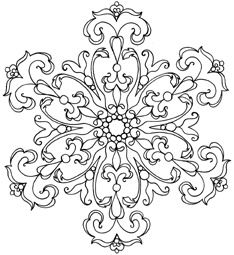 impression obsession rubber stamps damask snowflake coloring - Mandala Snowflakes Coloring Pages