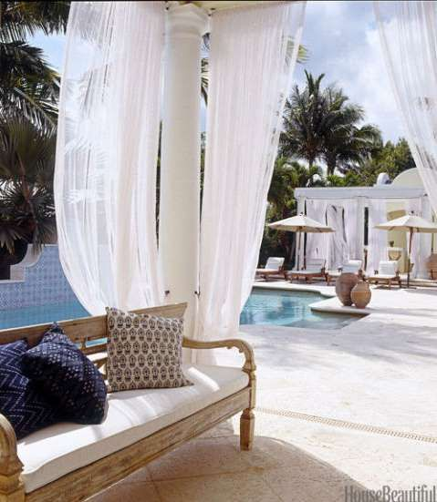 This Florida home has certainly perfected the idea of outdoor living. Gauzy panels by the pool add p... - Simon Upton