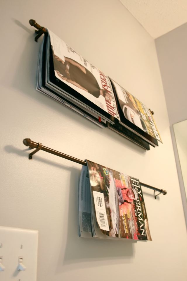 green DIY magazine rack for bathroom
