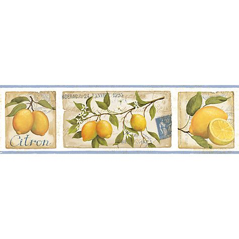 Galerie Aquarius Lemons Kitchen Wallpaper Border Blue