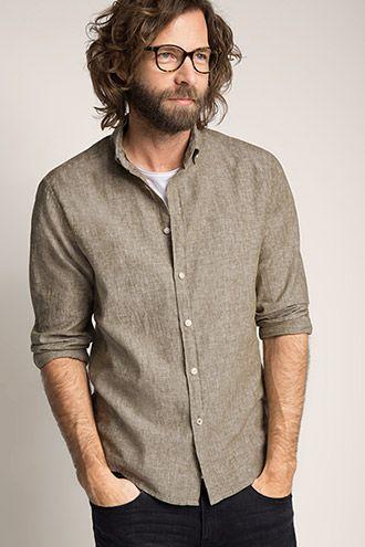 Esprit / Button-Down Hemd aus Leinen/Baumwolle