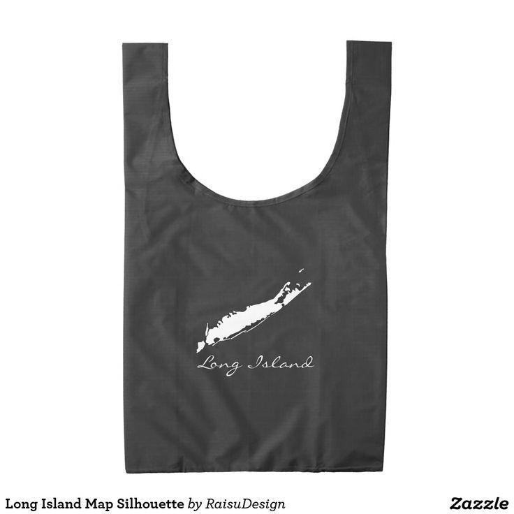 Long Island Map Silhouette Reusable Bag