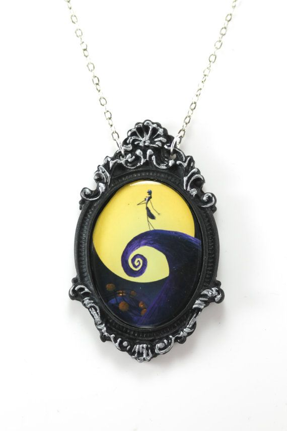 "Jack Skellington Nightmare Before Christmas Cameo Necklace with Ornate Silver & Black Frame on 18"" Chain"