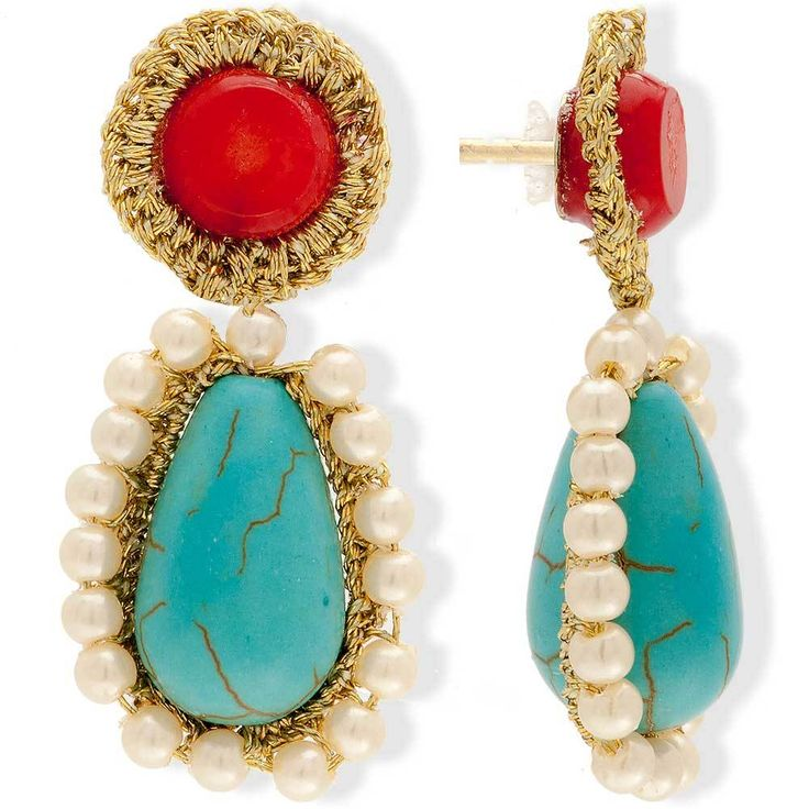 Crochet Woven Drop Earrings With Pearls & Turquoise | Anthos jewellery - Anthos Crafts