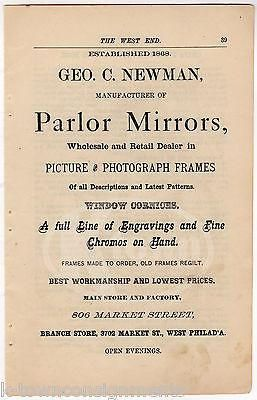 GEORGE NEWMAN PHILA PA MIRROR & PICTURE FRAMING STORE ANTIQUE ADVERTISING PRINT