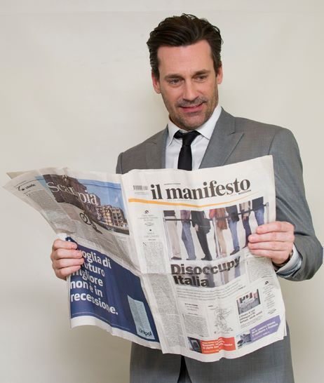 John Hamm supports il manifesto (picture by Luca Celada)