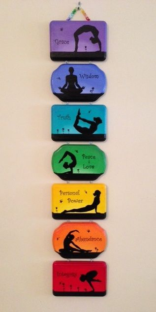 """Seven beautiful interconnected hand-painted plaques is perfect for the home or yoga studio. Each individual plaque features a particular chakra along with its associated color and yoga posture. The wall hanging is 4.5"""" wide and 3' long."""
