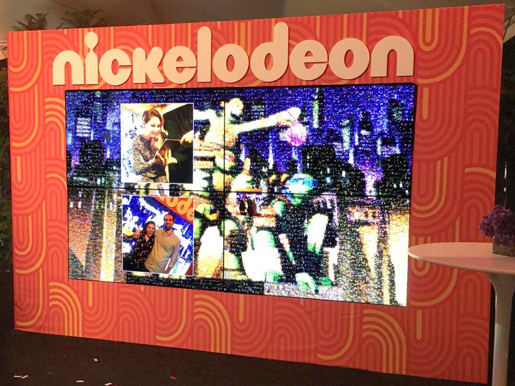 At a live photo mosaic event for Nickelodeon's Burbank facility grand opening, Picture Mosaics provided a digital photo mosaic wall.