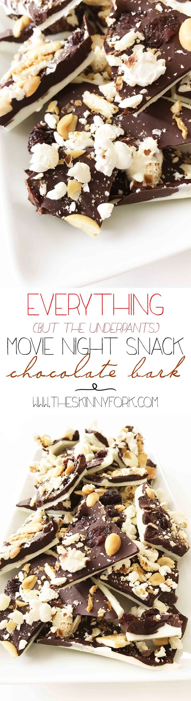 Are you ready to #Pop4Captain? Check out this 'Everything (But the Underpants) Movie Night Snack Chocolate Bark'! Made with Pop Secret, Lance Snacks, and Walmart!  #Pmedia #Ad TheSkinnyFork.com | Skinny & Healthy Recipes