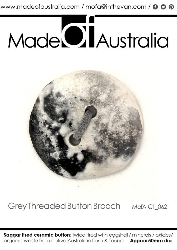 Ceramic Button Brooch with Grey Leather by MadeOFAustralia on Etsy, $69.00