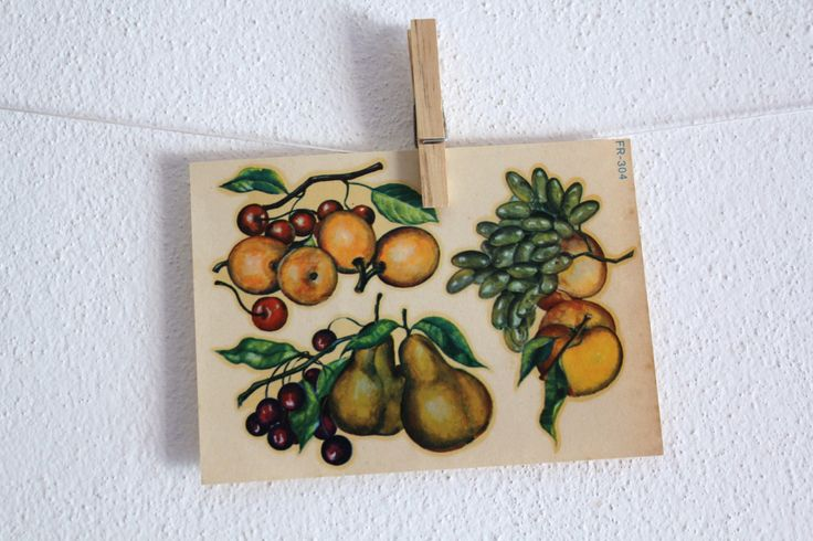 Vintage Decal Fruits 1950s Water Slide Italy Yellow Green Cherries Pears Grapes Plums Wall Hanging Scrapbooking Home Decor by CakeNumber9 on Etsy