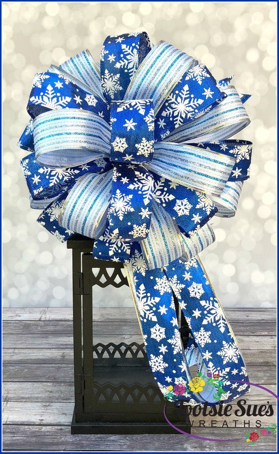 Christmas Bow Blue Christmas Bow Christmas Lantern Bow Blue White Snowflake Bow Gift Package Bow W Christmas Lanterns Christmas Bows Christmas Wreath Bows