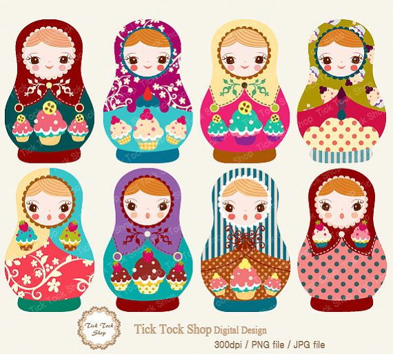 Matryoshka high quality SET - 01 (6 inch) Clip Art      **Tick Tock Shop**      *8 separate png, jpg files in a zip file, will be emailed to you within