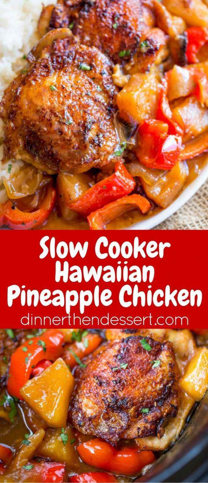 Slow Cooker Hawaiian Pineapple Chicken with crispy chicken thighs, fresh  pineapple chunks, onions and bell pepper takes 15 minutes of prep!