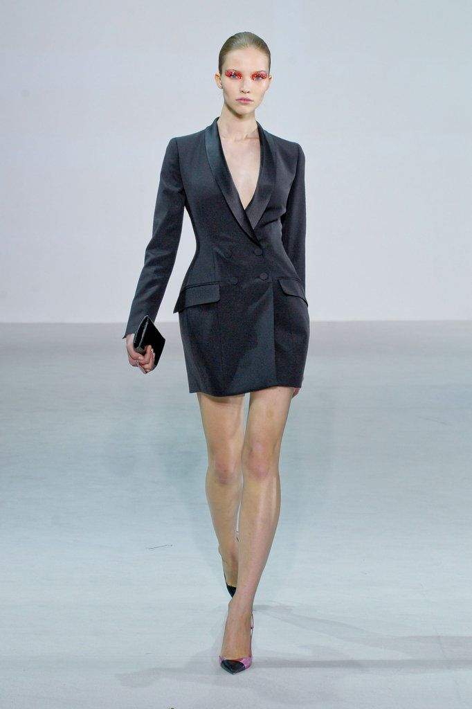 Slip on heels and you're ready to go in this sultry man-style inspired tuxedo dress.