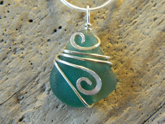 Teal and Sterling Sea Glass Pendant by MadeByTheBaySeaGlass, $45.00
