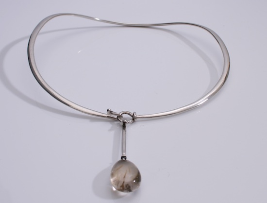 Necklace |  Vivianna Torun Bulow-Hube for Georg Jensen Denmark c.1960 Sterling silver with Rutilated Quartz drop