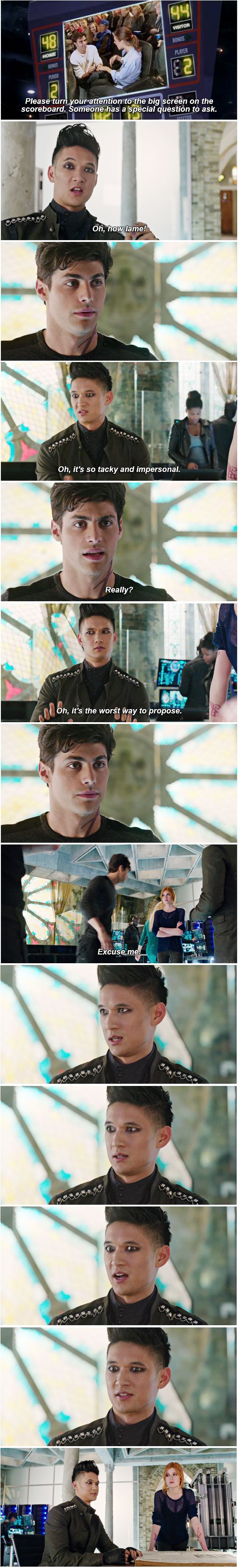 Marriage proposel fail ... (based on the tv serie Shadowhunters) ... the mortal instruments, clarissa 'clary' fray, alexander 'alec' lightwood, magnus bane, matthew daddario, harry shum jr, shadowhunters, katherine mcnamara
