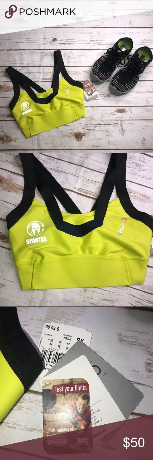 NWT: REEBOK SPARTAN • Neon Yellow Sports Bra - XS NEW WITH TAGS: REEBOK SPARTAN • Neon Yellow Sports Bra - Size XS. NO Flaws. (shoes not included) Reebok Intimates & Sleepwear Bras