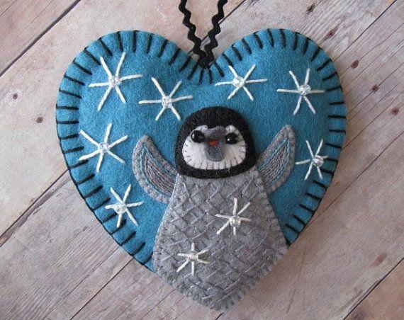 Baby Penguin Ornament in Ocean Blue by SandhraLee on Etsy