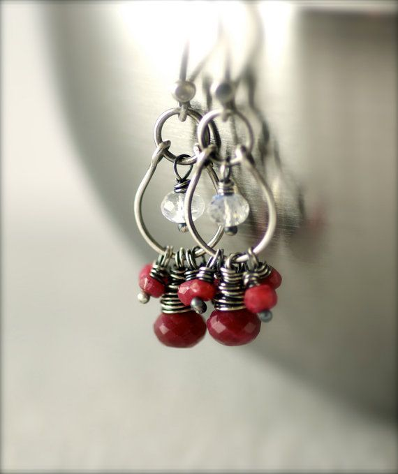 Summer Sale 15percent Off Ruby and Rainbow Moonstone Earrings