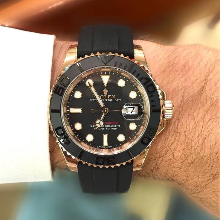 #Nouveauté #2015 #Rolex #Oyster #Perpetual #Yacht #Master #Noir et #Or #Everose sur bracelet #Oysterflex développé et breveté par Rolex. #Sport #Chic et #Technique - À découvrir chez #LouisJulianetFils à #Cannes - #boutique #horlogerie #Watch and #Jewelry. #jewellery #watches