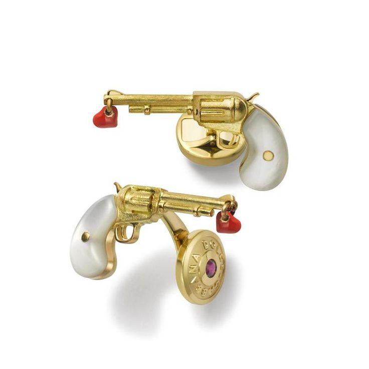 Pistol cufflinks with red enamel heart