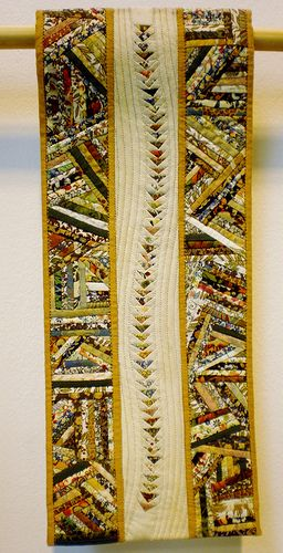 This is a fabulous table runner! would love to figure out how the geese were made to fly in a curve!                    Hilary Drake