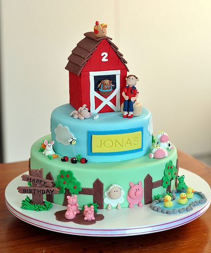 "Farmyard cake | 12"", 8"" and 4"" barnyard cake The birthday bo… | Flickr"