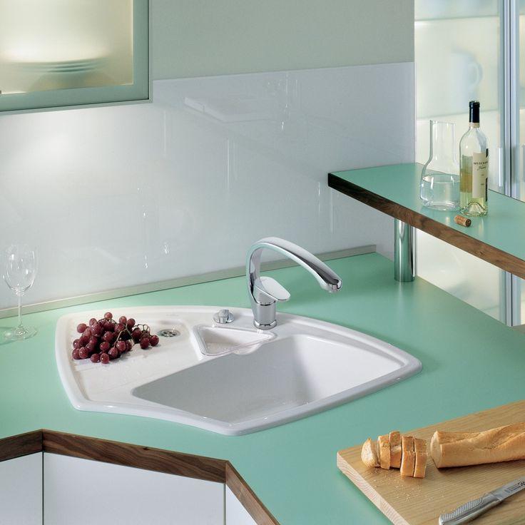 villeroy u0026 boch arena 125 bowl white ceramic corner kitchen sink - Corner Kitchen Sink