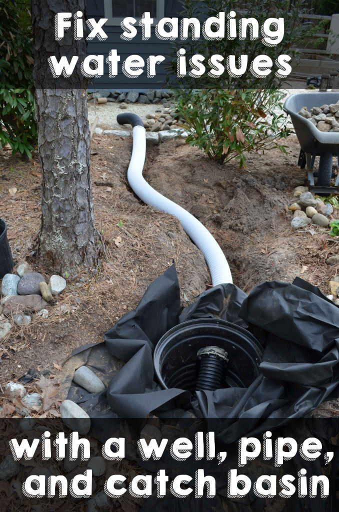 Fix standing water issues with a well, pipe, and catch basin