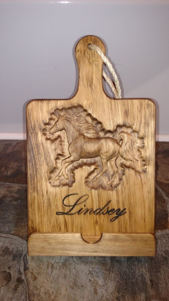 Horse Engraved Wooden IPad / Cookbook Stand, Provincial 211 Finish, Cutting  Board Style, Kitchen IPad Stand, Wooden Cookbook Holder