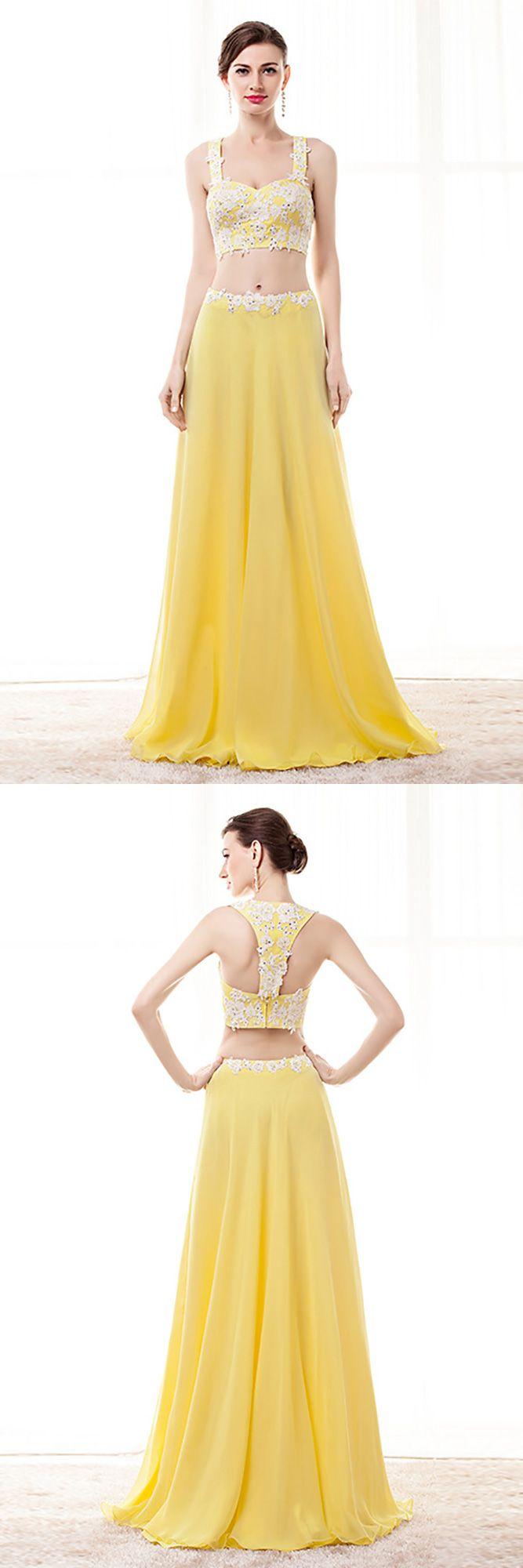 138 99 2 Piece Yellow Semi Formal Dress Crop Top With Lace Beading H76067 Gemgrace Com Crop Top Dress Formal Dresses Semi Formal Dress [ 2000 x 667 Pixel ]