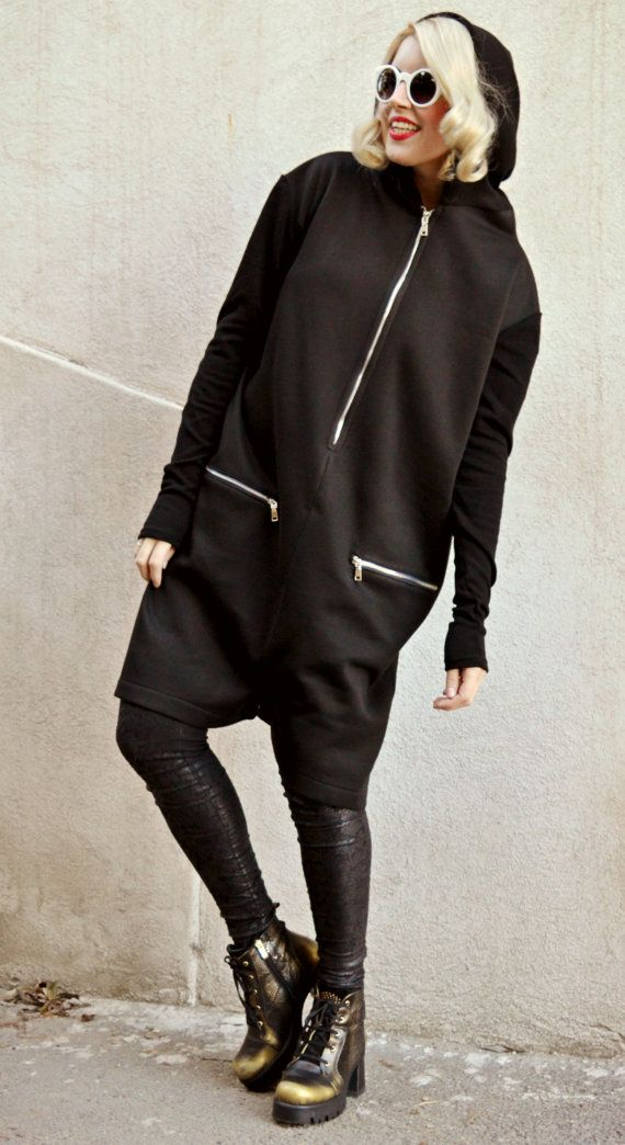 Funky Loose Jumper Pants / Extravagant Short Jumpsuit / Oversize Jumpers / Black Loose Hoodie / Hooded Jumper TJ14 / SPRING 2016