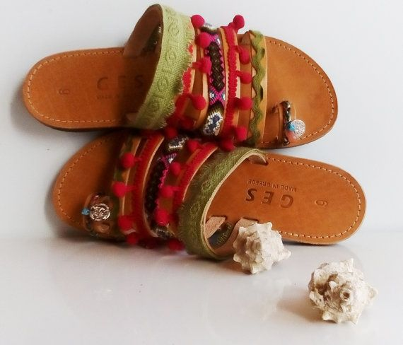 Bohemian sandals, Friendship bracelets, Greek sandals, Decorated sandals, Ancient greek shoes, Sandals for women, Pom Pom shoes, Hippie look