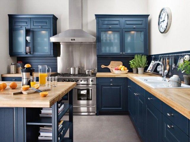 les 25 meilleures id es de la cat gorie cuisine bleu. Black Bedroom Furniture Sets. Home Design Ideas