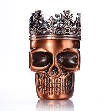 LIHAO Herb Spice Weed Tobacco Grinder Crown Skull - Red Bronze