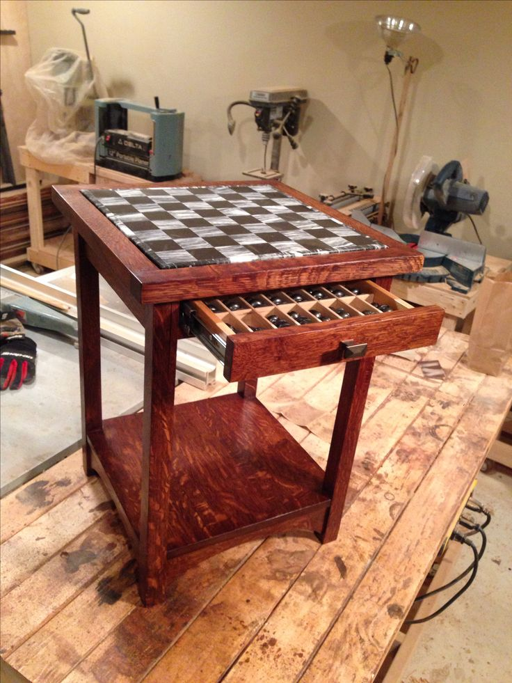 Mission arts & crafts chess table with a custom drawer for the chess pieces.