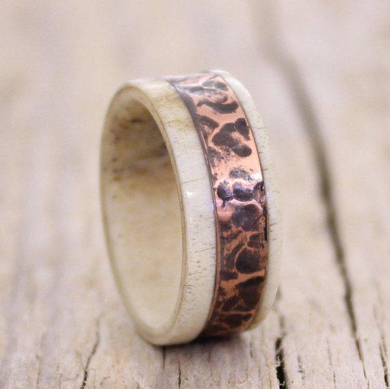 Arrow Ring Copper Ring Deer Antler Ring Antler Ring Copper Inlay Ring