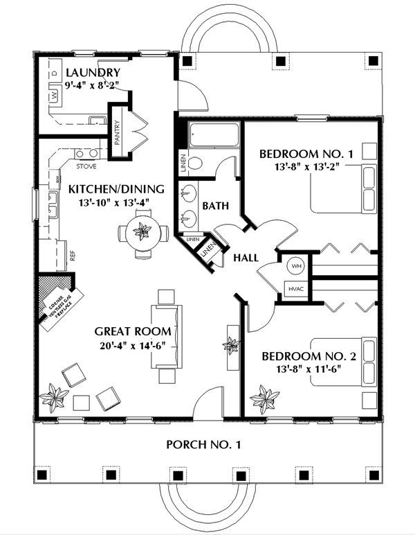 Nice small 2-bedroom cabin plan. Add a small garage and this is the perfect house.